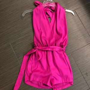 Hot pink, backless romper